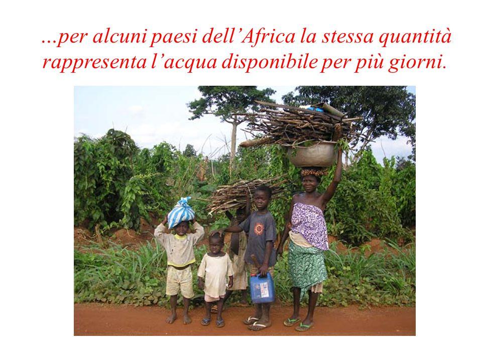 …per alcuni paesi dell'Africa la stessa quantità rappresenta l'acqua disponibile per più giorni.