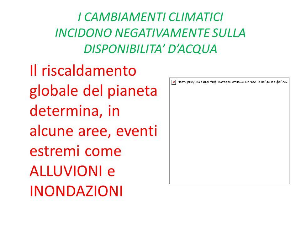 I CAMBIAMENTI CLIMATICI INCIDONO NEGATIVAMENTE SULLA DISPONIBILITA' D'ACQUA