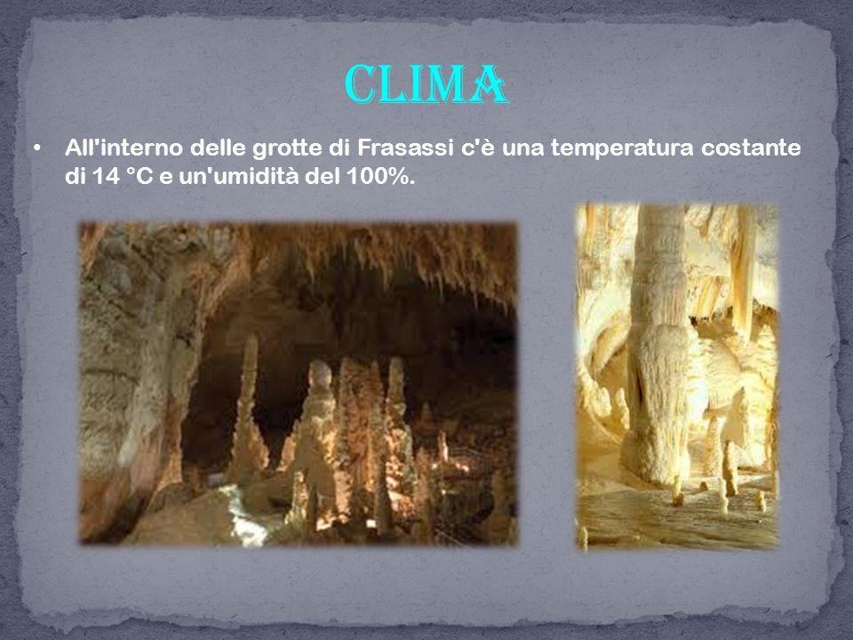 clima All interno delle grotte di Frasassi c è una temperatura costante di 14 °C e un umidità del 100%.