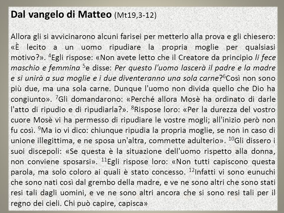 Dal vangelo di Matteo (Mt19,3-12)