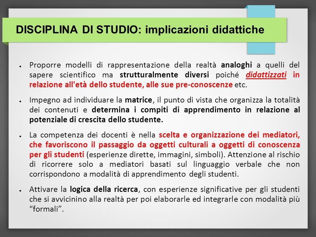 DISCIPLINA DI STUDIO: implicazioni didattiche