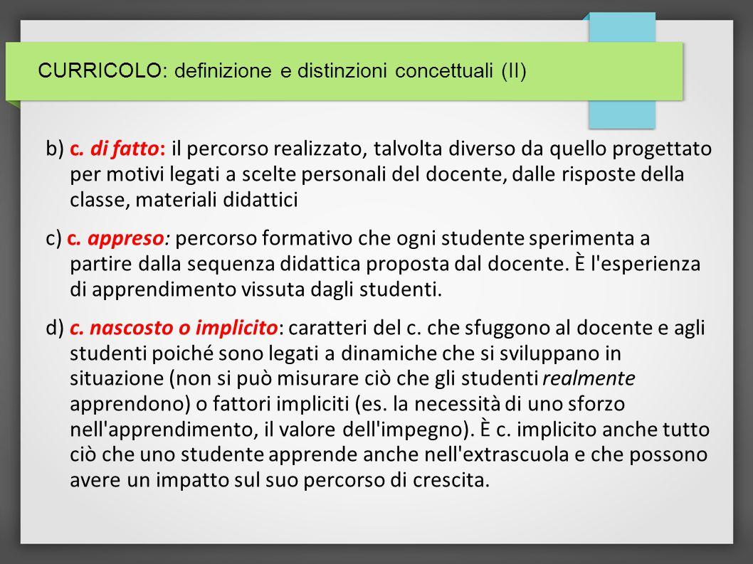 CURRICOLO: definizione e distinzioni concettuali (II)