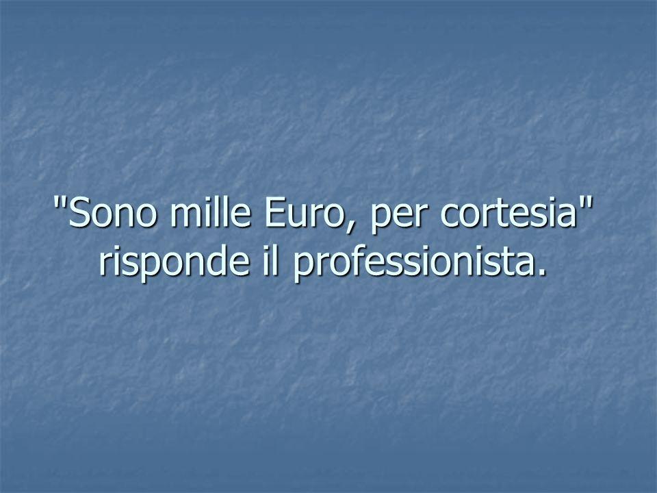 Sono mille Euro, per cortesia risponde il professionista.