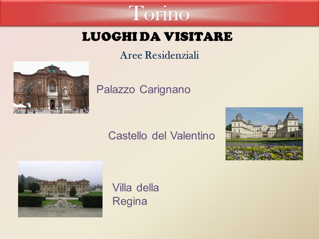 Torino LUOGHI DA VISITARE Aree Residenziali Palazzo Carignano