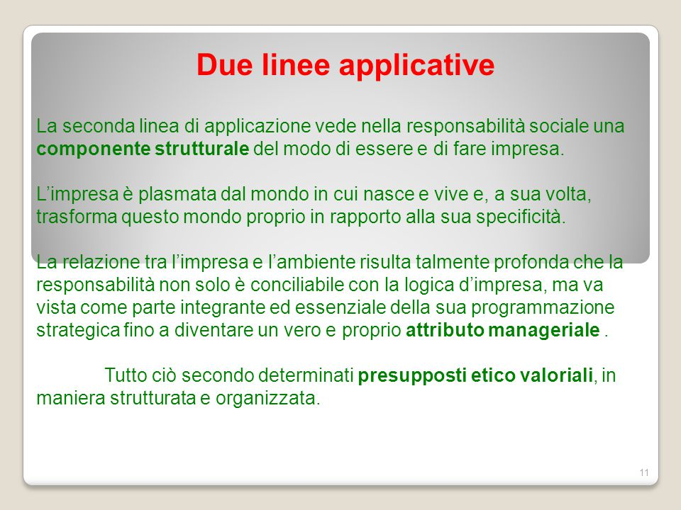 Due linee applicative