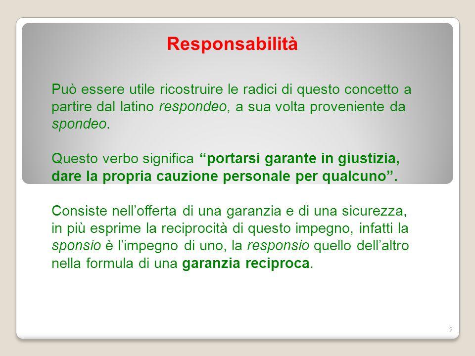 Responsabilità Può essere utile ricostruire le radici di questo concetto a partire dal latino respondeo, a sua volta proveniente da spondeo.