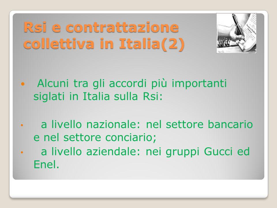 Rsi e contrattazione collettiva in Italia(2)