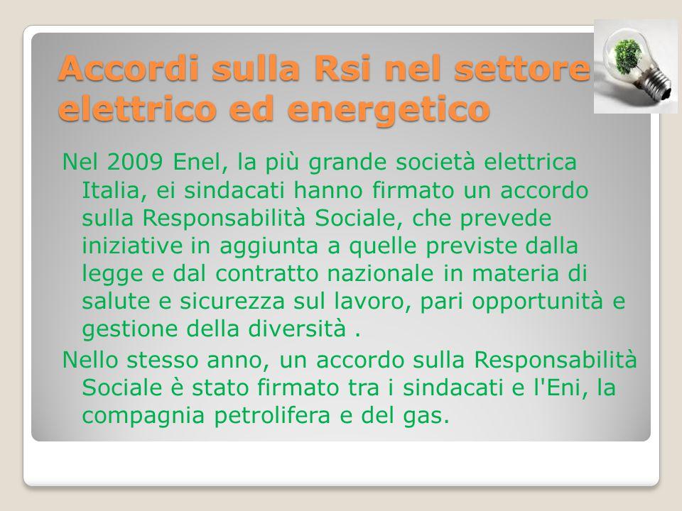Accordi sulla Rsi nel settore elettrico ed energetico