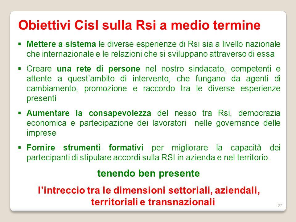 Obiettivi Cisl sulla Rsi a medio termine