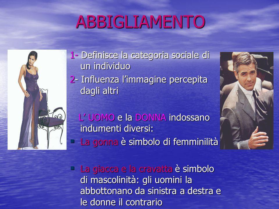 ABBIGLIAMENTO 1- Definisce la categoria sociale di un individuo