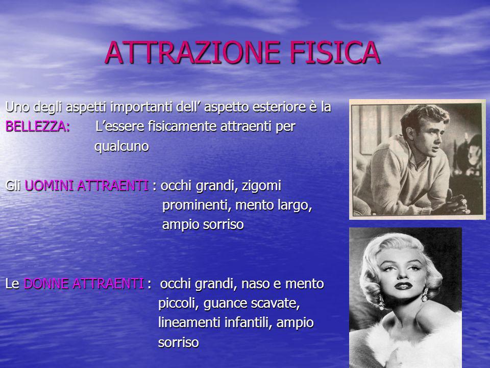 ATTRAZIONE FISICA Uno degli aspetti importanti dell' aspetto esteriore è la. BELLEZZA: L'essere fisicamente attraenti per.