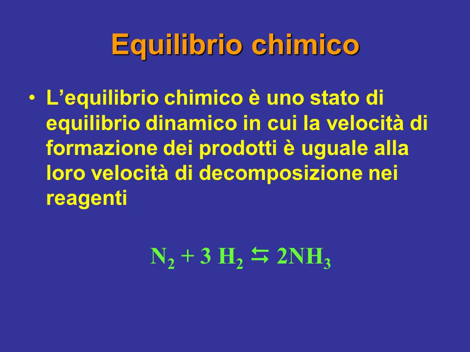 Equilibrio chimico N2 + 3 H2  2NH3