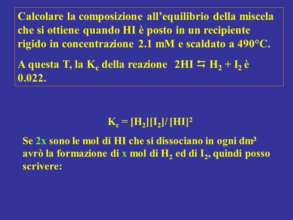 A questa T, la Kc della reazione 2HI  H2 + I2 è 0.022.