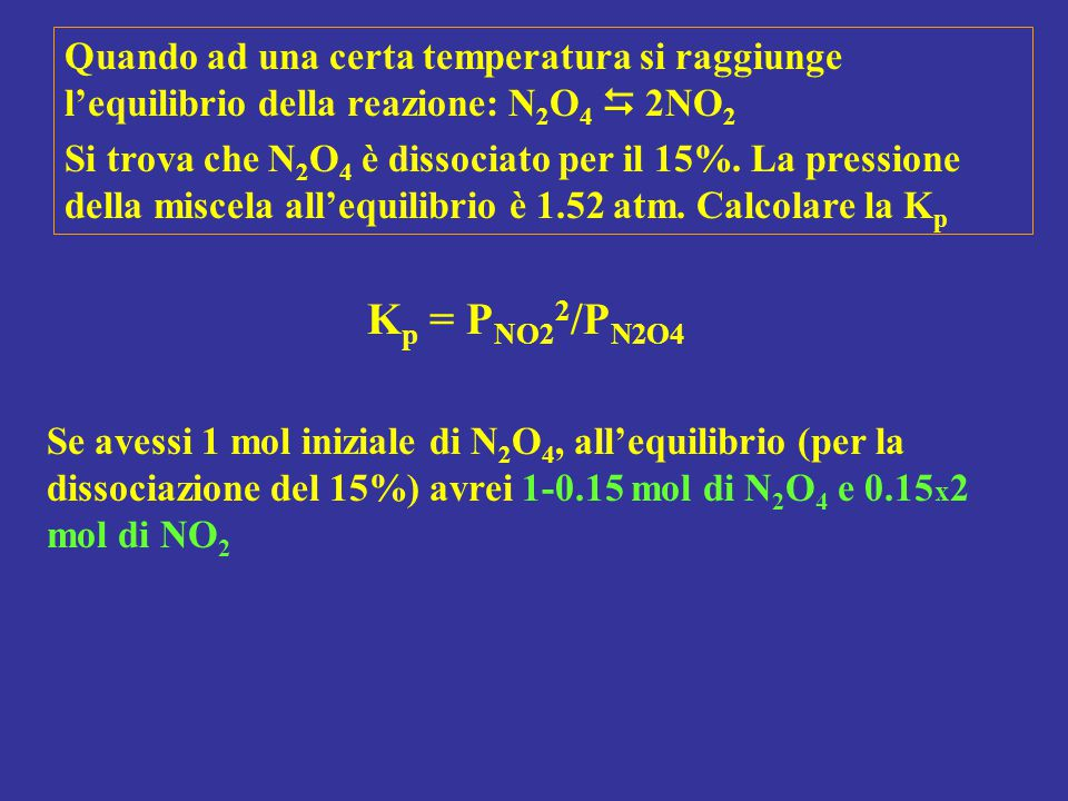 Quando ad una certa temperatura si raggiunge l'equilibrio della reazione: N2O4  2NO2
