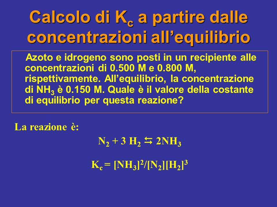 Calcolo di Kc a partire dalle concentrazioni all'equilibrio