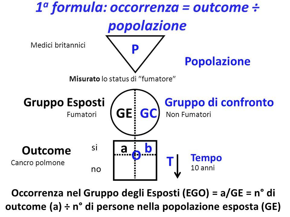 1a formula: occorrenza = outcome ÷ popolazione