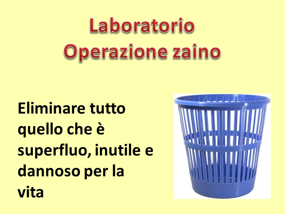 Laboratorio Operazione zaino