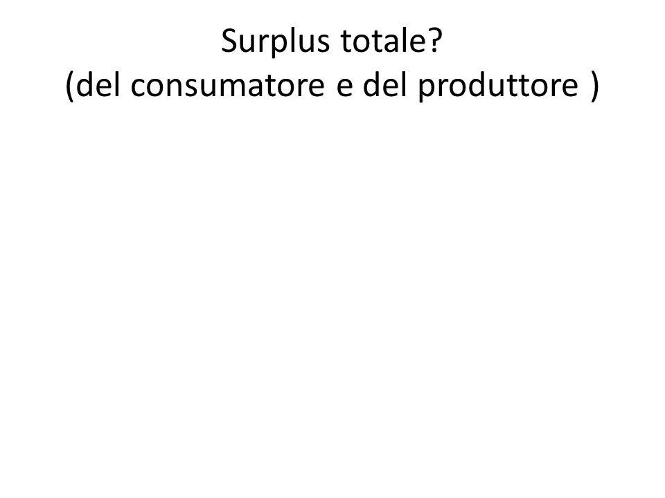 Surplus totale (del consumatore e del produttore )