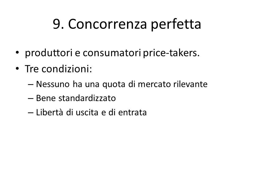 9. Concorrenza perfetta produttori e consumatori price-takers.
