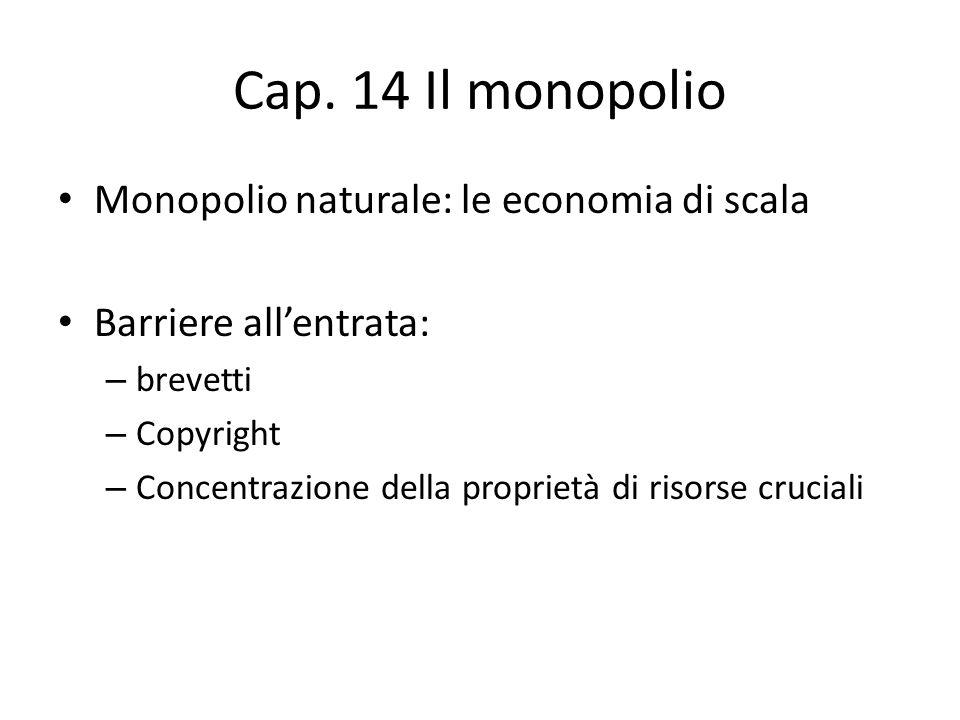 Cap. 14 Il monopolio Monopolio naturale: le economia di scala