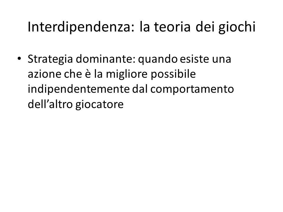 Interdipendenza: la teoria dei giochi