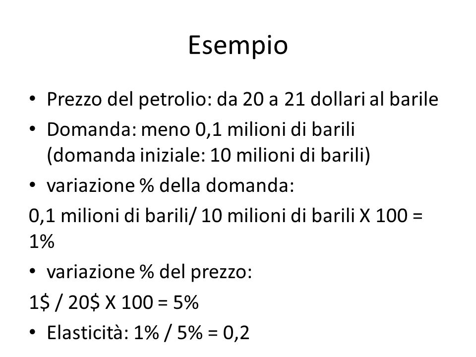 Esempio Prezzo del petrolio: da 20 a 21 dollari al barile
