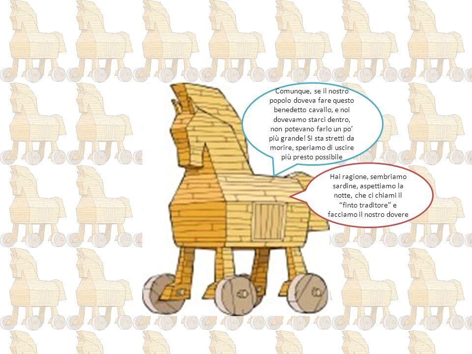 Comunque, se il nostro popolo doveva fare questo benedetto cavallo, e noi dovevamo starci dentro, non potevano farlo un po' più grande! Si sta stretti da morire, speriamo di uscire più presto possibile