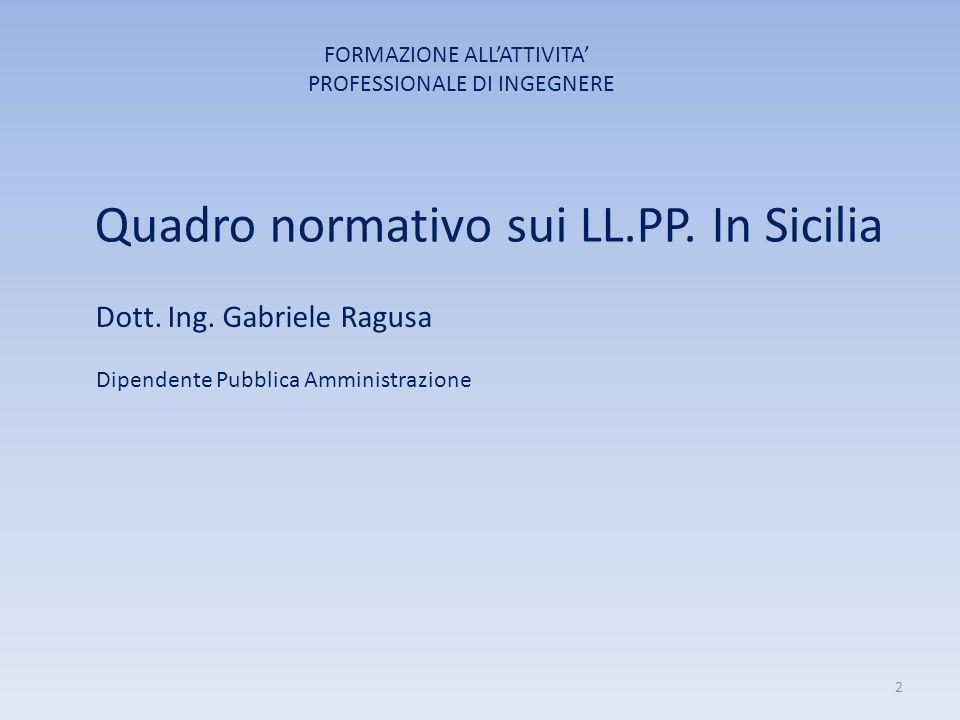 Quadro normativo sui LL.PP. In Sicilia