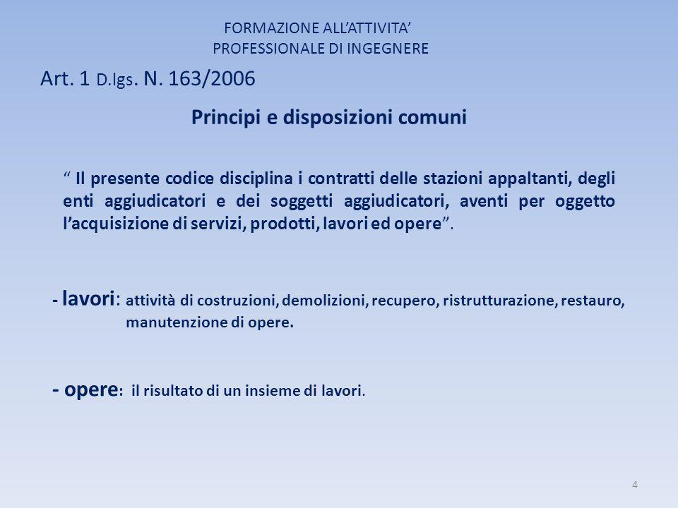 Principi e disposizioni comuni