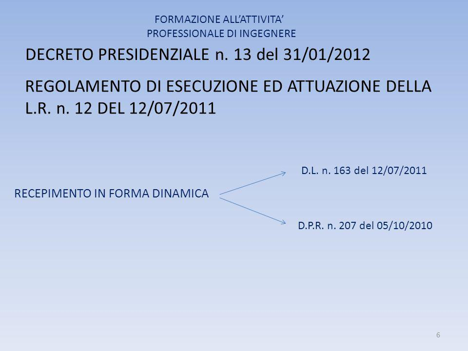 DECRETO PRESIDENZIALE n. 13 del 31/01/2012