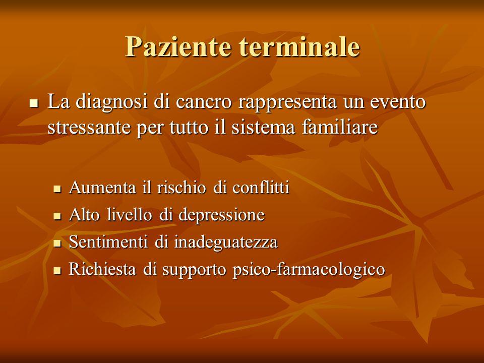 Paziente terminale La diagnosi di cancro rappresenta un evento stressante per tutto il sistema familiare.