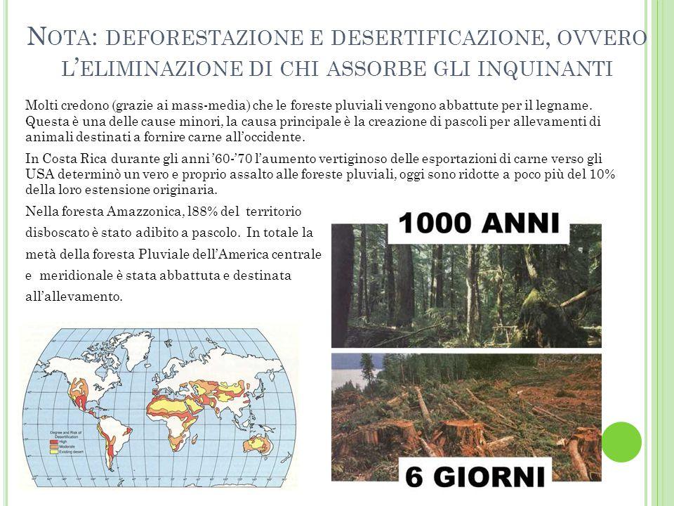 Nota: deforestazione e desertificazione, ovvero l'eliminazione di chi assorbe gli inquinanti