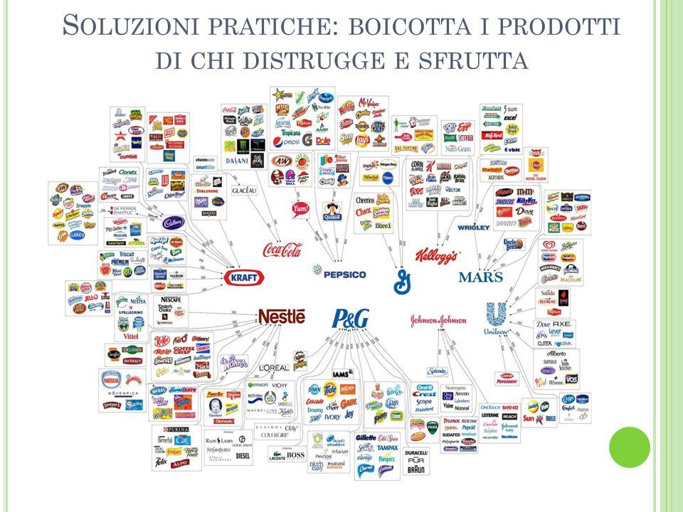 Soluzioni pratiche: boicotta i prodotti di chi distrugge e sfrutta