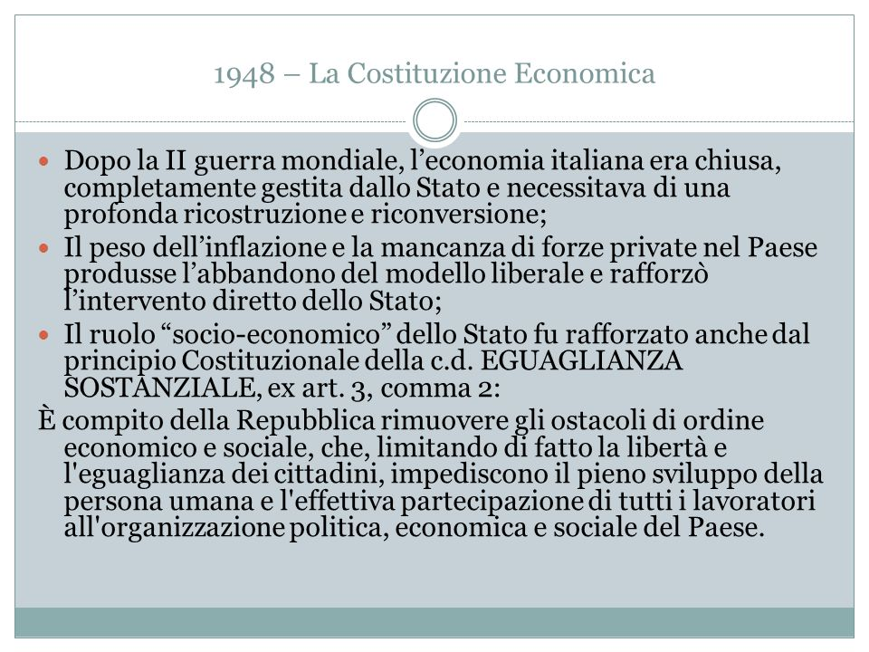 1948 – La Costituzione Economica