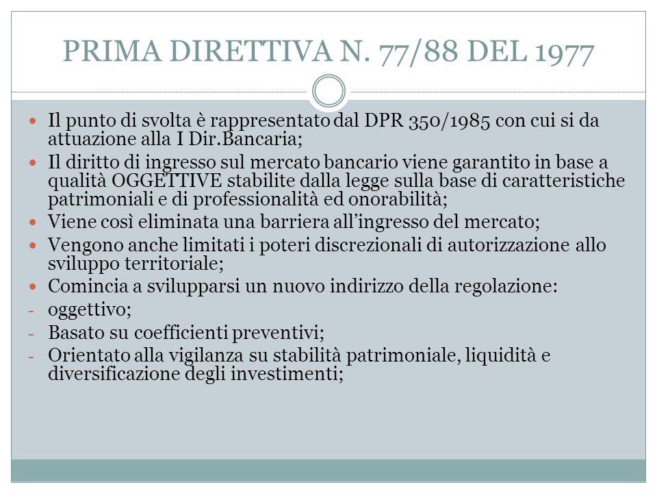 PRIMA DIRETTIVA N. 77/88 DEL 1977 Il punto di svolta è rappresentato dal DPR 350/1985 con cui si da attuazione alla I Dir.Bancaria;