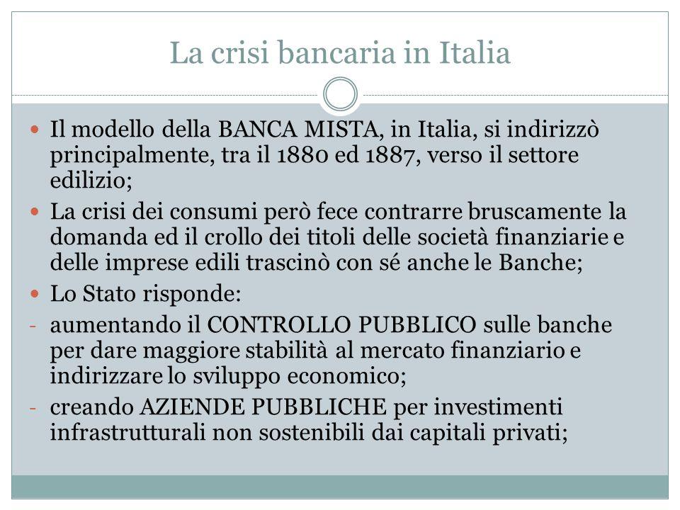 La crisi bancaria in Italia
