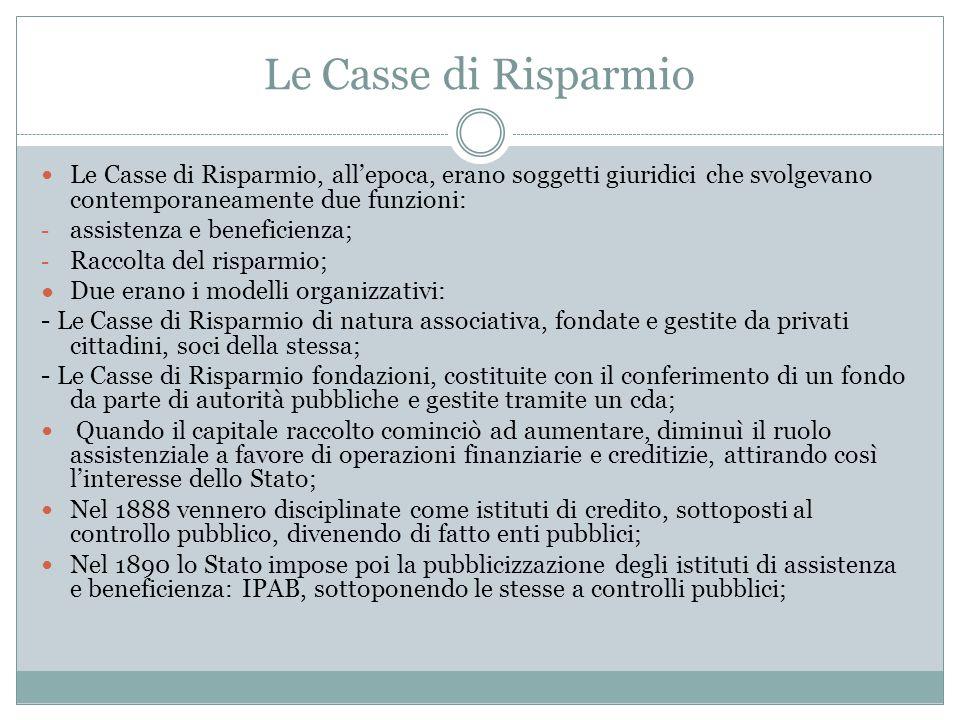 Le Casse di Risparmio Le Casse di Risparmio, all'epoca, erano soggetti giuridici che svolgevano contemporaneamente due funzioni:
