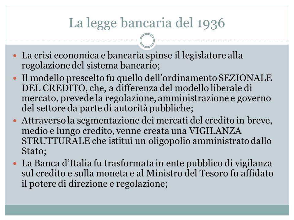 La legge bancaria del 1936 La crisi economica e bancaria spinse il legislatore alla regolazione del sistema bancario;