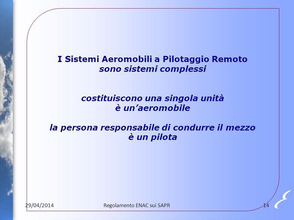 I Sistemi Aeromobili a Pilotaggio Remoto sono sistemi complessi costituiscono una singola unità è un'aeromobile la persona responsabile di condurre il mezzo è un pilota