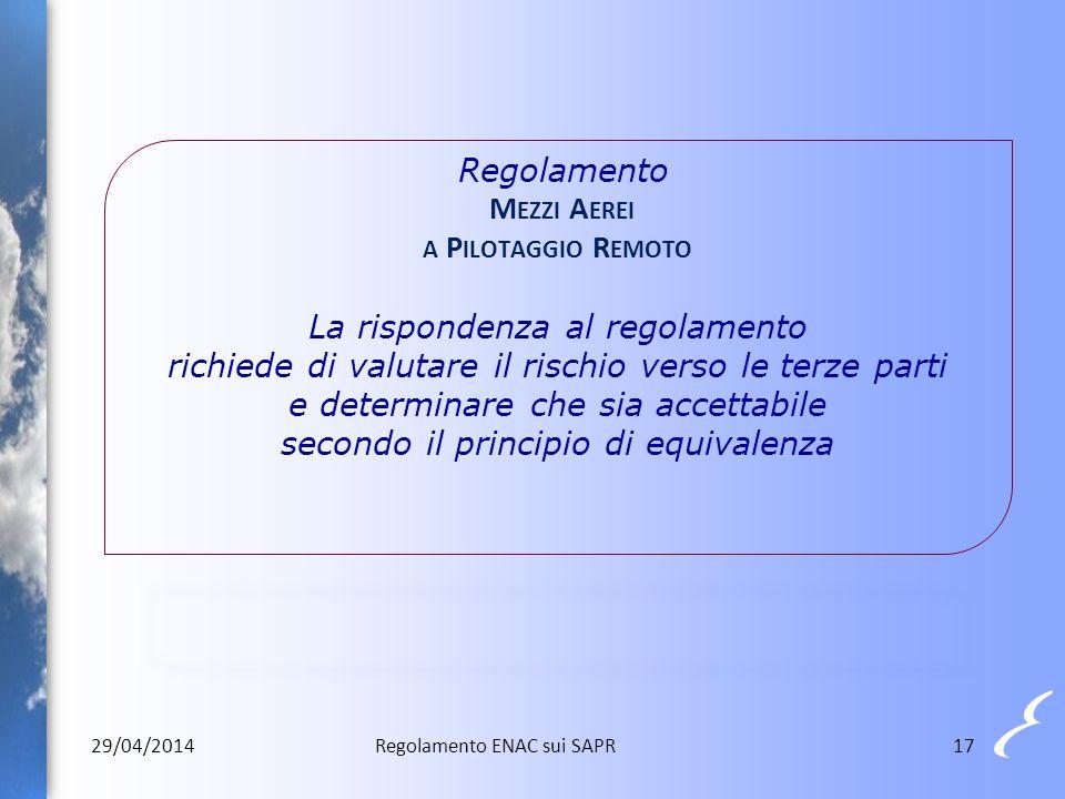Regolamento Mezzi Aerei a Pilotaggio Remoto La rispondenza al regolamento richiede di valutare il rischio verso le terze parti e determinare che sia accettabile secondo il principio di equivalenza