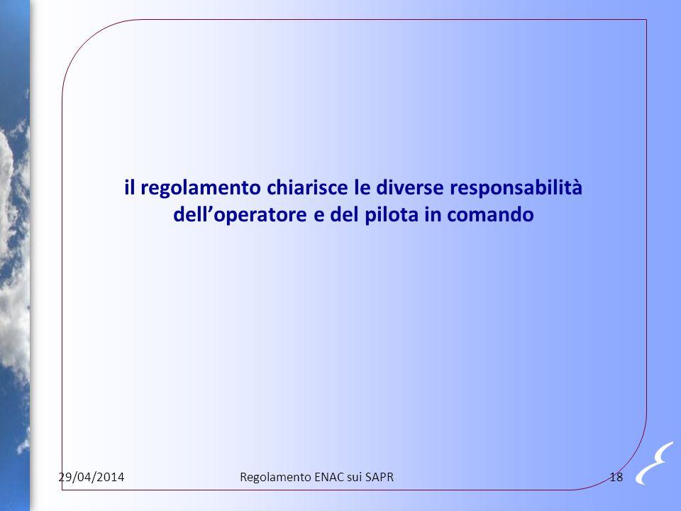 il regolamento chiarisce le diverse responsabilità dell'operatore e del pilota in comando