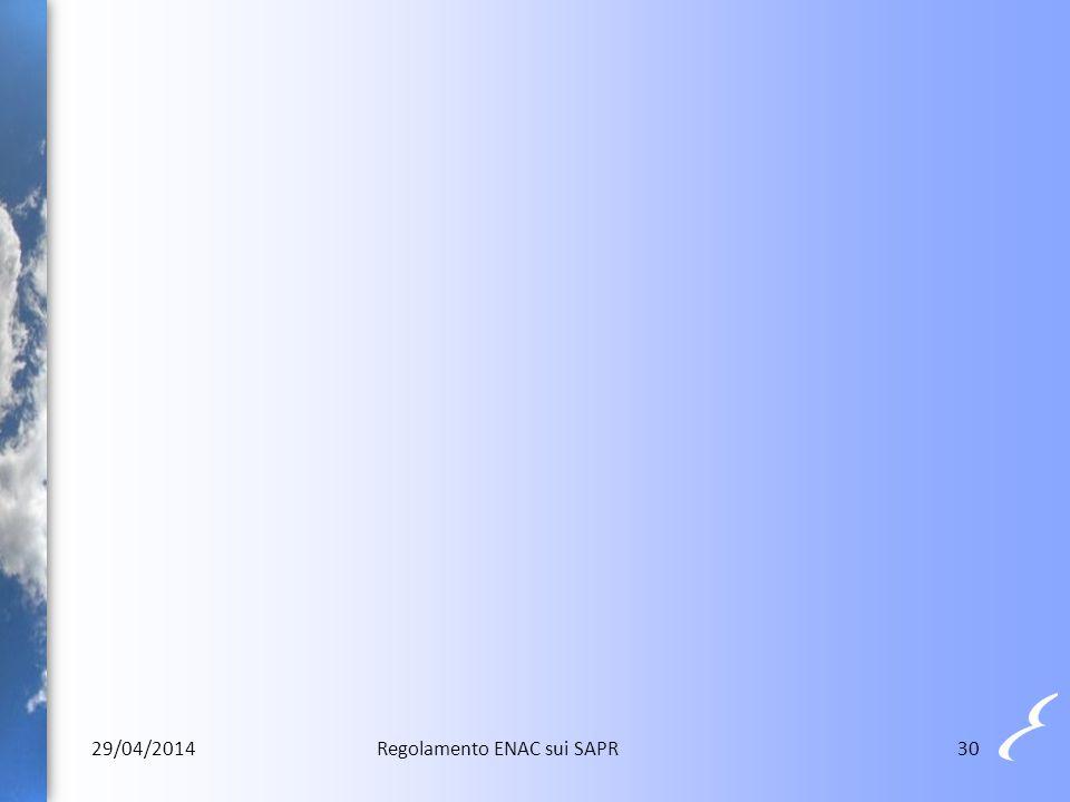 29/04/2014 Regolamento ENAC sui SAPR