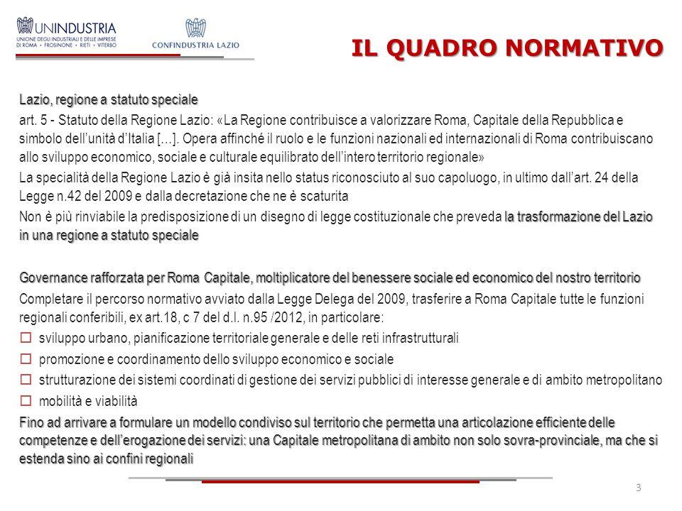 IL QUADRO ECONOMICO Il Lazio in Europa