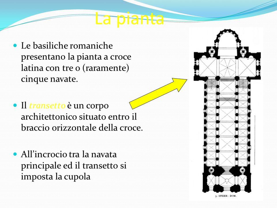 La pianta Le basiliche romaniche presentano la pianta a croce latina con tre o (raramente) cinque navate.