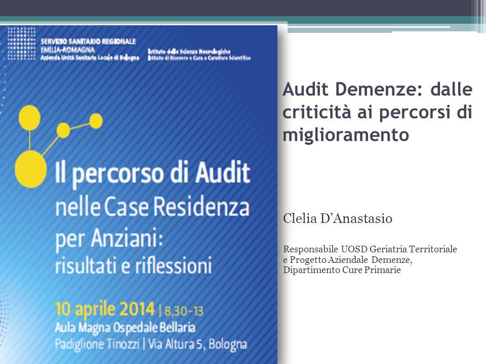 Audit Demenze: dalle criticità ai percorsi di miglioramento