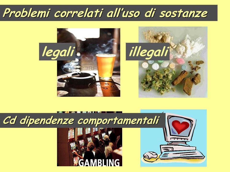 legali illegali Problemi correlati all'uso di sostanze