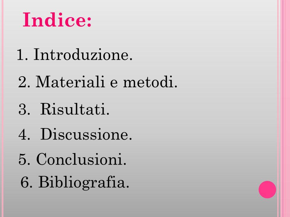 Indice: 1. Introduzione. 2. Materiali e metodi. 3. Risultati.