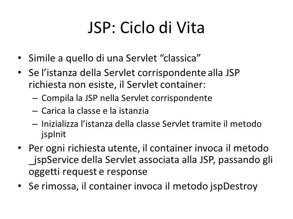 JSP: Ciclo di Vita Simile a quello di una Servlet classica