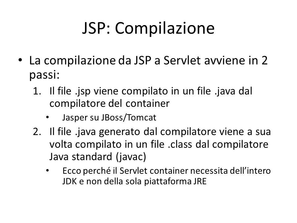 JSP: Compilazione La compilazione da JSP a Servlet avviene in 2 passi: