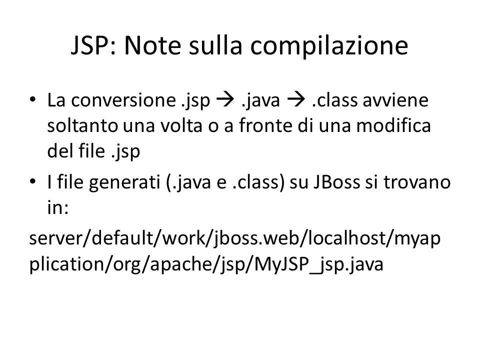 JSP: Note sulla compilazione